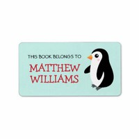 Cute cartoon penguin animal bookplate book