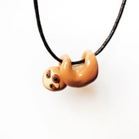 Cute Baby Sloth Necklace Polymer Clay Miniature Animal