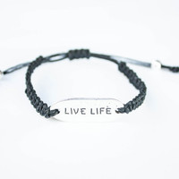 Live Life Word Friendship Bracelet Hemp Inspiration Jewelry