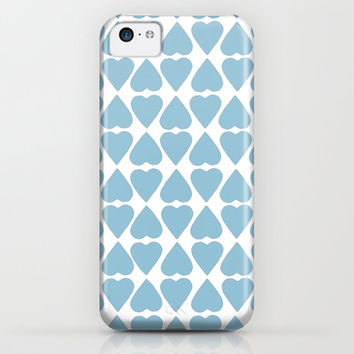 Diamond Hearts Repeat Blue iPhone & iPod Case by Project M