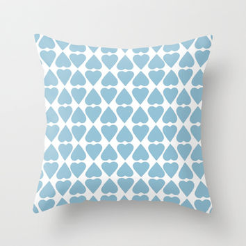 Diamond Hearts Repeat Blue Throw Pillow by Project M