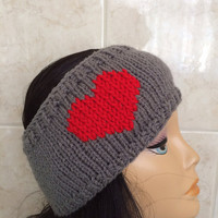 Knitted Heart Headband, Knitted Valentines Headband,Women Headband,Heart Headband, Knitted Headband, Grey Headband