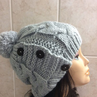 Gray hat ,Women's Knit Hat Winter Hat Slouchy Beanie Pompom Hat -Grey Beret / Chunky / Beret /Baggy / Beanie