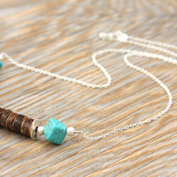 NEW Tribal Necklace, Beach Boho Rustic Coconut African Beads. Turquoise Cubes, Sterling Silver Chain. Bohemian Gypsy Ethnic Native Necklace
