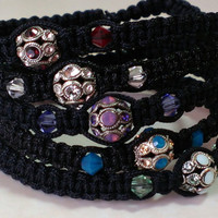 Bracelet set of two - encrusted crystal jewelry - Swarovski® Elements - friendship bracelet set- wrist stack - friendship bracelets - unique