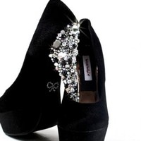 Black Velvet Crystal Embellished High Heels