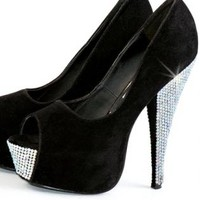 Black Suede Peep Toe Crystal Embellished High Heels