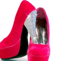 Pink Velvet Crystal Embellished High Heels