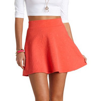 GEO-QUILTED HIGH-WAISTED SKATER SKIRT