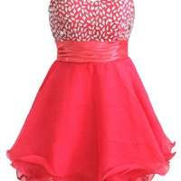 Faironly Bright Red Crystal Homecoming Dress