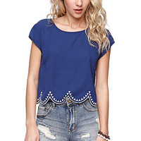 LA Hearts Embroidered Edge Scallop Shirt at PacSun.com