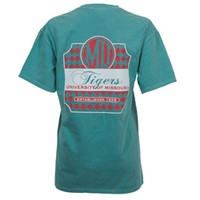 The Mizzou Store - Mizzou Comfort Colors MU Chest Pocket Teal Short Sleeve Crew Neck T-Shirt