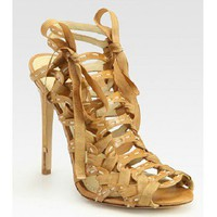 B Brian Atwood Loisaida Leather and Ribbon Cage Sandals