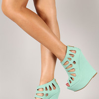 Dollhouse Caged Nubuck Peep Toe Platform Wedge
