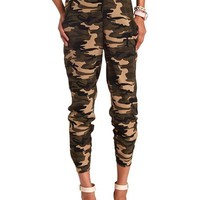 CAMO PRINT HIGH-WAISTED JOGGER PANTS