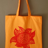 Sunflower Tote Bag - red on orange