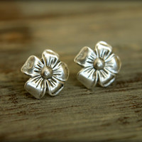 Pansy Flower Earring Posts in Antique Silver