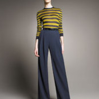 Jason Wu - Striped Knit Pullover & Pleated-Front Gabardine Trousers - Neiman Marcus