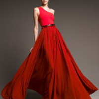 Lanvin - Bi-Color One-Shoulder Gown - Neiman Marcus