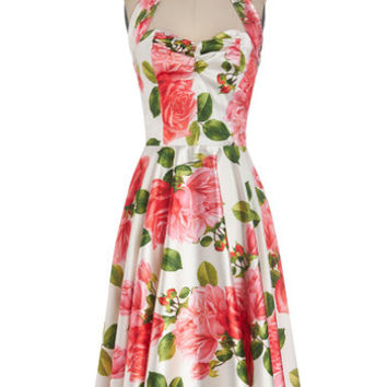 ModCloth Vintage Inspired Long Halter A-line Whisper Smoothly Dress