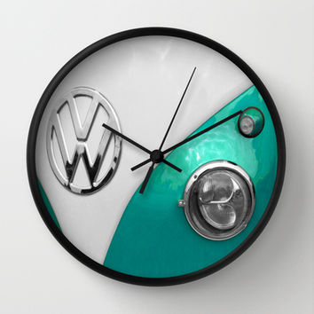 VW Split Screen in Teal Wall Clock by Alice Gosling