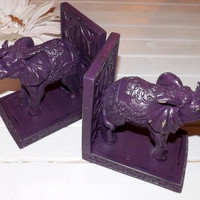 Elephant Book Ends / Shabby Chic / Office Decor / Elephant Statue / Purple Home Decor