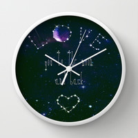 LOVE YOU GALAXY Wall Clock by Monika Strigel