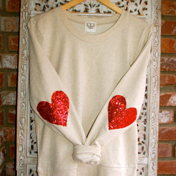 "Heart Elbow Patch - ""Dazzle Patch"" Oatmeal Sweatshirt w/ Red Heart Sequin Elbow Patch - Valentine's Day Sale"