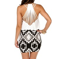 IvoryBlack Aztec Bloussant Dress