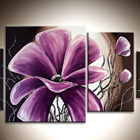 Abstract Oil Painting on Canvas 4 Pieces, Modern Wall Art, Office Art, Oil Painting with Stretched Framed, Modern Flowers Purple, Home Decor