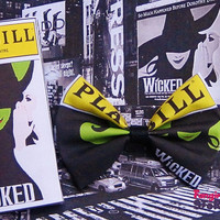Playbill Broadway Theatre Love Hair bows or Play bill Bow ties unique handmade fun quirky fabric bow