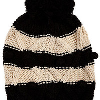 The Censor Striped Pom Beanie in Black