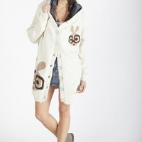 Cream Rabbit Print Fur Hooded Button Down Sweater