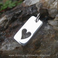 Open Heart Charm - Sterling Silver Heart Necklace
