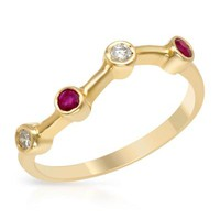New FORELI 14K Y/G Ring with 0.20 CTW Diamonds , Ruby - 			        	For Your Little One: Designer Pieces Shop