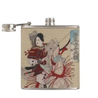 Hangakujo Woman Warrior Japanese Vintage Art Flask