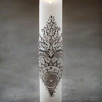 Free People Womens Henna Peacock Pillar Candle - White, One