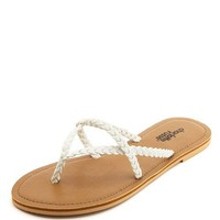 STRAPPY BRAIDED THONG SANDALS