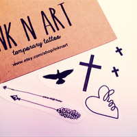 7pcs Set Swallow Cross Arrow Infinity Loop Bird- InknArt Temporary Tattoo Set - pack tattoo quote wrist ankle body sticker fake tattoo