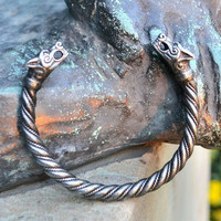 Viking PEWTER Wolf Bracelet Fenrir Pagan Norse Head Wolves Bangle Jewel Jewelry Jewellery Iceland Thor Hammer Mjollnir Museum