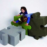 Jigsaw Seating - Strategize Your Way to Make a Sofa Out of the Puzzle Pouf Pieces (GALLERY)