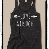 Love Struck Arrow Girls Heathered Tank Top Shirt silkscreen screenprint Alternative Apparel