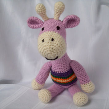 Giraffe, Crochet Giraffe Toy, Amigurumi Giraffe, Children's Stuffed Animal Crochet Toy, Purple Giraffe