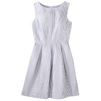 Merona® Women's Seersucker Fit and Flare Dress - Grey/White