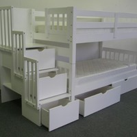 Bedz King Twin Over Twin Stairway Bunk Bed with 2 Under Bed Drawers, White