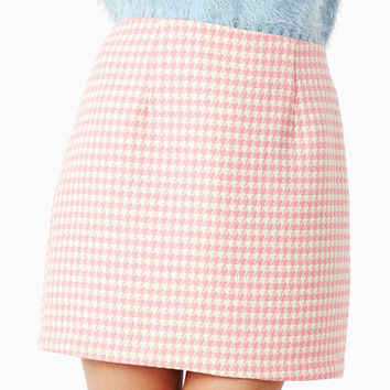 Alessandra Earl Grey Dogtooth Mini Skirt in Pink at Fashion Union