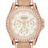 Women's Fossil 'Riley' Crystal Bezel Leather Strap Watch