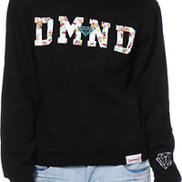 Diamond Supply Co. DMND Floral Fill Black Crew Neck Sweatshirt