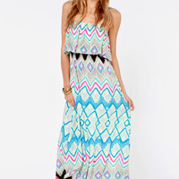 What a Day Blue Print Maxi Dress