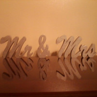 Mr & Mrs wedding sign signs painted and clear coated free standing